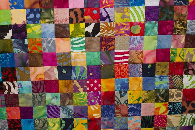 No. 31 Batik Postage Stamp Quilt, 3,136 Pieces. Quilt Front Detail, Studio Juju Quilts, via Flickr