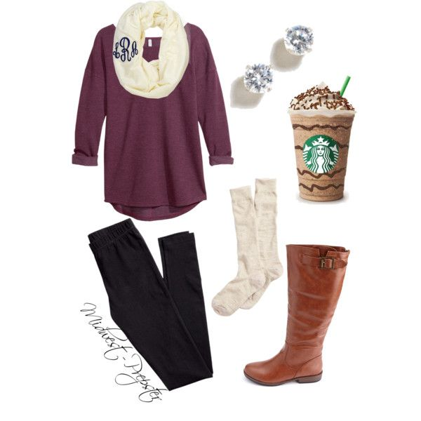 Burgundy & ivory - I love that a Starbucks is an accessory.  Hahaha!
