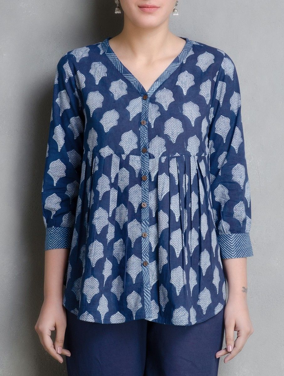 ab096e27a2f8be Buy Indigo Hand Block Printed Cotton Top by Aavaran Online at Jaypore.com