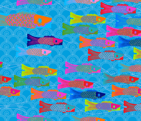 koinobori_bleu_L_copie fabric by nadja_petremand on Spoonflower - custom fabric
