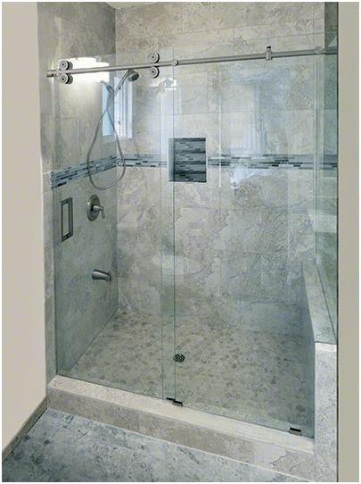 Crescent Slider Brushed Nickel Barn Slider Header Frameless Sliding Shower Door Glass Shower Enclosures Sliding Shower Door Frameless Sliding Shower Doors