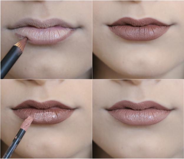 Resultado de imagem para Contorne a boca com o lápis na cor marrom e depois aplique o batom bronze. Vale lembrar que usar gloss valoriza a boca.