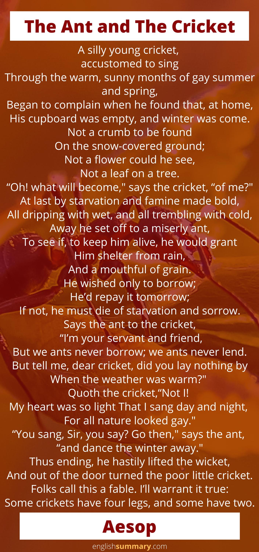 ant and cricket poem summary
