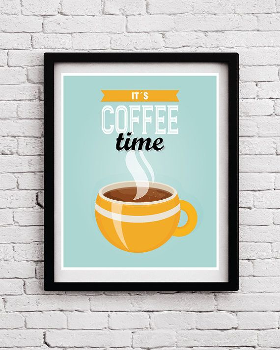Retro Funny Coffee Time Kitchen Decor, Coffee Quote Poster, Kitchen Art, Kitchen Print, Kitchen Decor, Kitchen Art, Kitchen Posters, Retro by BlackPelican