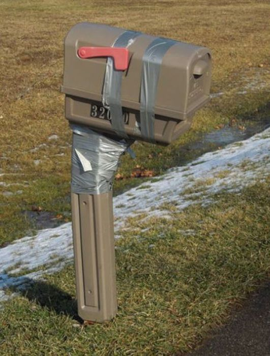 Broken Mailbox Plus Duck Tape Equals Macgyver Style Fix House Home Diy Repair Southern Engineering Bad Look Crazy Dumb
