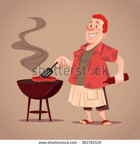 Cartoon Character Bbq Chef Outdoor Rest Man Cooking Meat