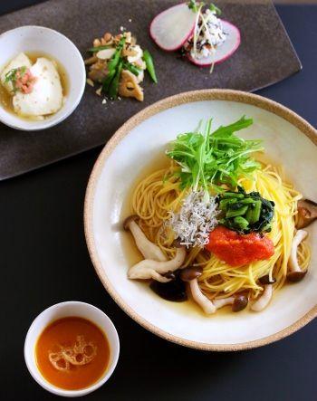 素材の味とおだしが香る、  やさしい味わいの「和ぱすた」が自慢  (写真は「こななセット」 1,330円~)