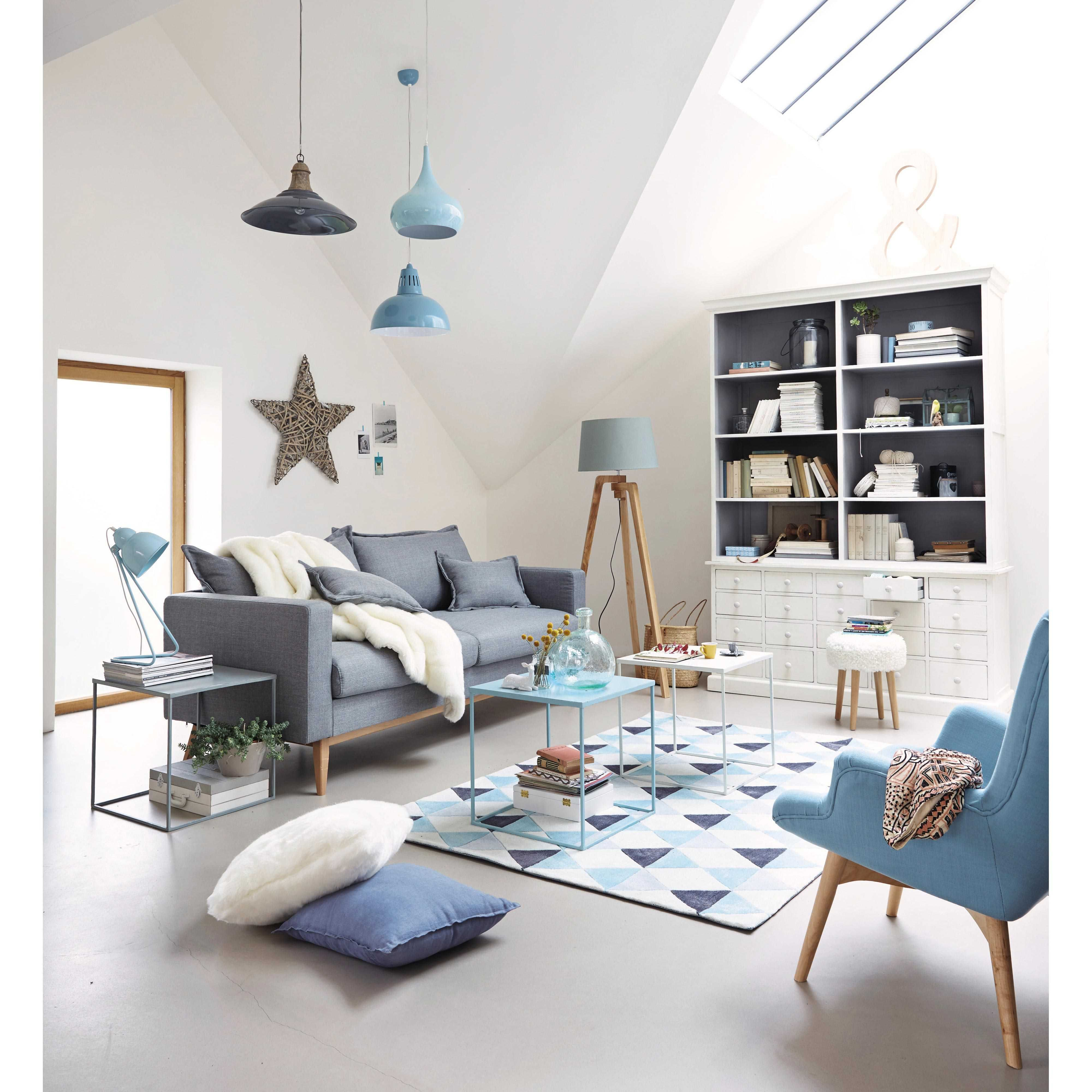 Suspension en m tal et bois grise l 50 cm salons living - Lampe bouddha maison du monde ...
