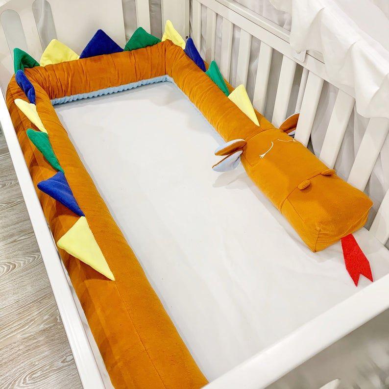 Burn Orange Dragon Crib Bumper Burnt Orange Bedding Earth Colors Bedding Plush Crib Bumper Multicolor Dragon