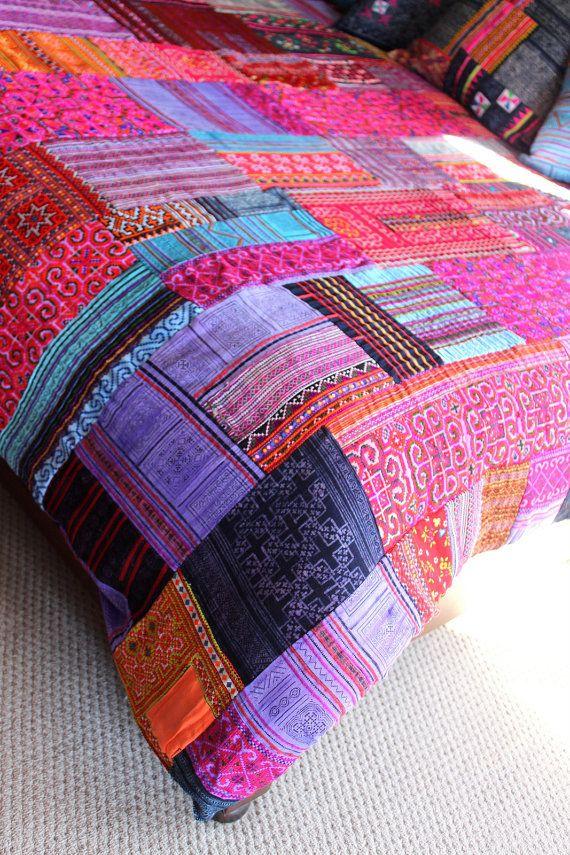 Patchwork Queen Duvet Cover Vintage Hmong Batik
