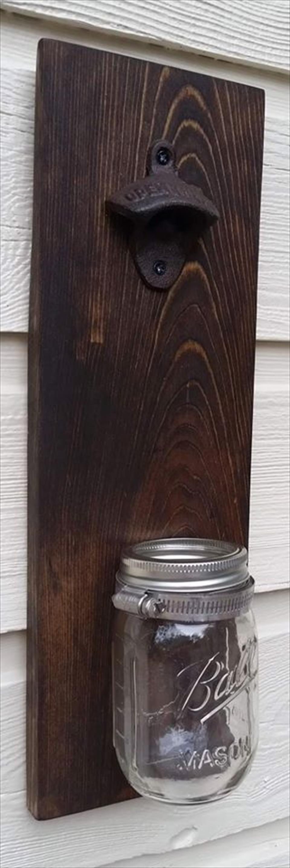 Pallet Bottle Opener with Mason Jar | 101 Pallets