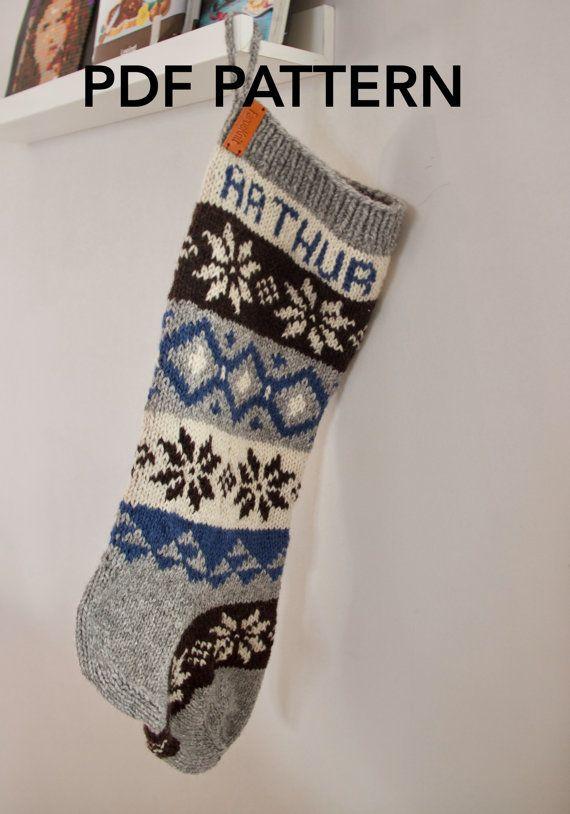 Personalized Christmas Stocking pattern, knit stocking pattern ...