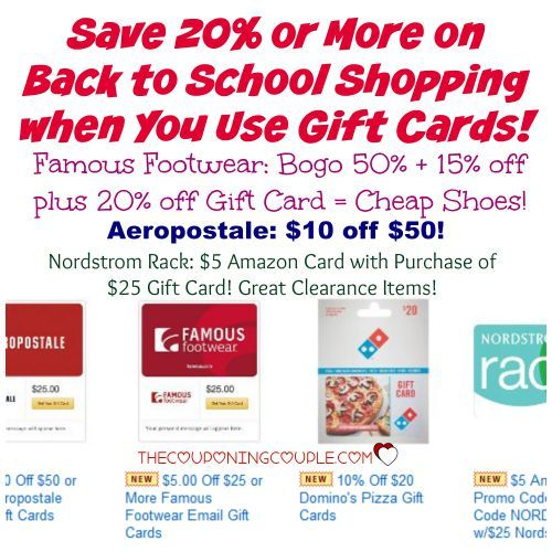 WOW!! SAVE even more on Back to School Shopping! Save 20% on eGift Cards to use when shopping! Awesome deals at Famous Footwear, Aeropostale, Nordstrom Rack and more!!  Click the link below to get all of the details ► http://www.thecouponingcouple.com/save-additional-20-off-school-shopping-when-you-use-gift-cards/  #Coupons #Couponing #CouponCommunity Visit us at http://www.thecouponingcouple.com for more great posts!