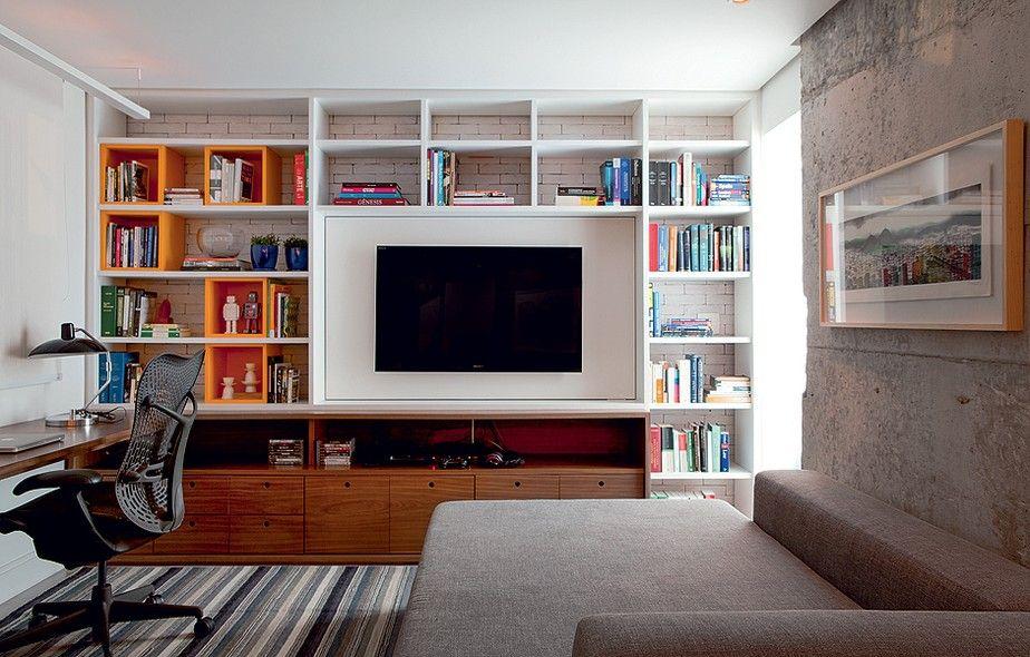 Sala Tv Com Escritorio ~ salas de tv estante estante sala quarto extra nicho prateleiras
