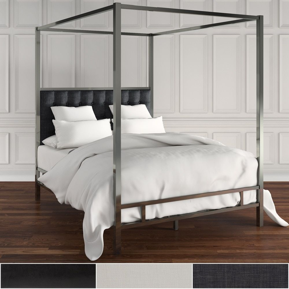 Solivita Full-Sized Canopy Black Nickel Metal Poster Bed by INSPIRE Q