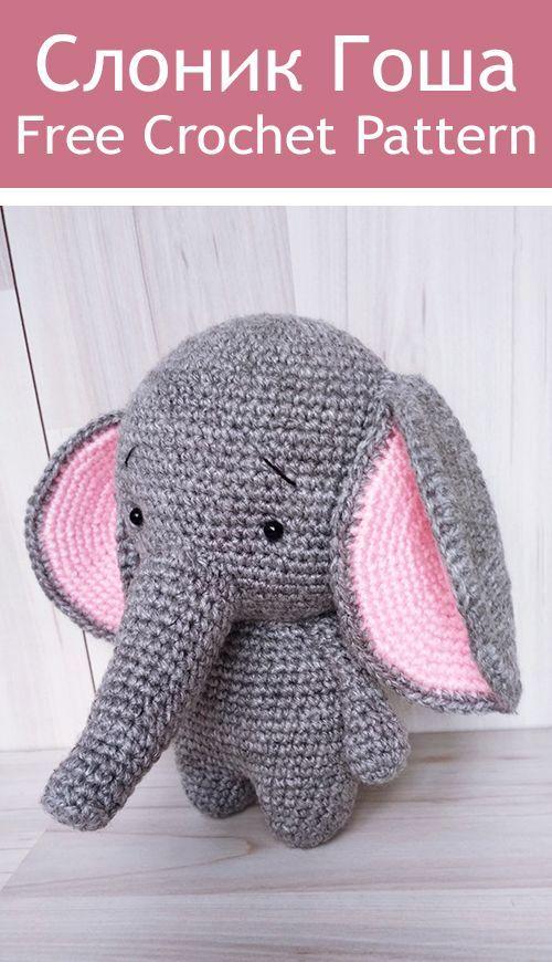 #amigurumi elefante PDF Слоник Гоша крючком. FREE crochet patte...