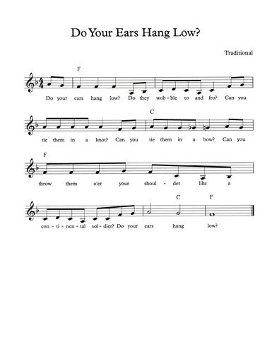 Do Your Ears Hang Low Free Pdf Lead Sheet With Chords And Lyrics