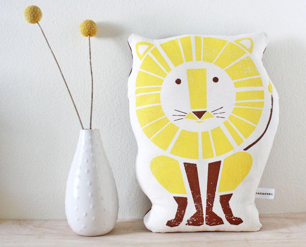 Lion Screenpinted Organic Pillow