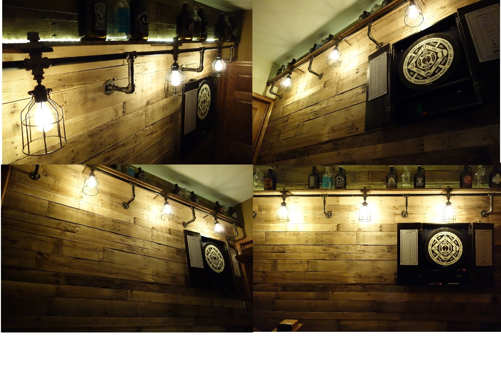 Pallet wall industrial lighting edison bulbs dart board for Diy dartboard lighting