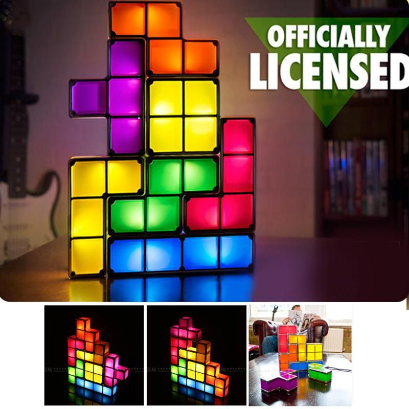 Free Shipping Buy Best Diy Tetris Puzzle Light Stackable Led Lamp Constructible Block Led Light Toy Retro Game Tower Puzzle Lights Baby Night Light Lamp