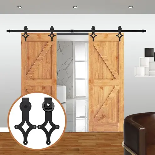4 10 Ft Rhombus Shaped Sliding Barn Door Hardware Kit For Double Door Barn Door Hardware Sliding Barn Door Hardware Barn Style Doors