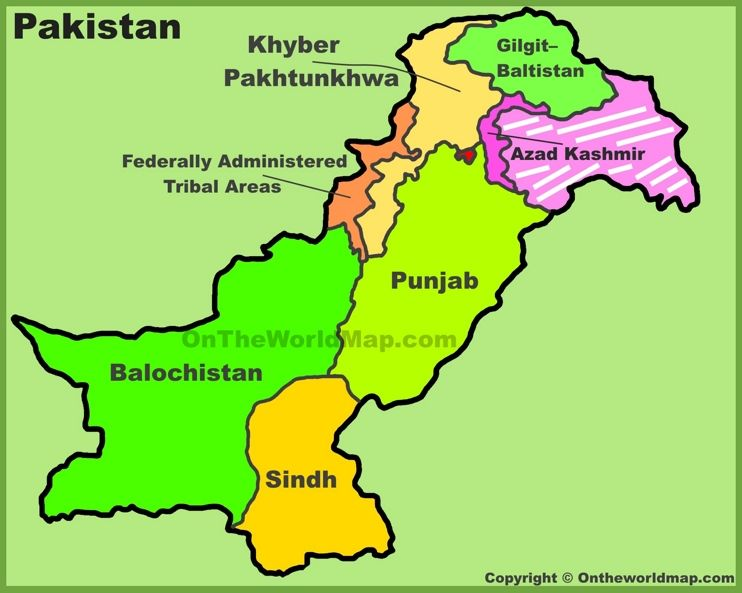 Administrative divisions map of Pakistan Pakistan Pinterest
