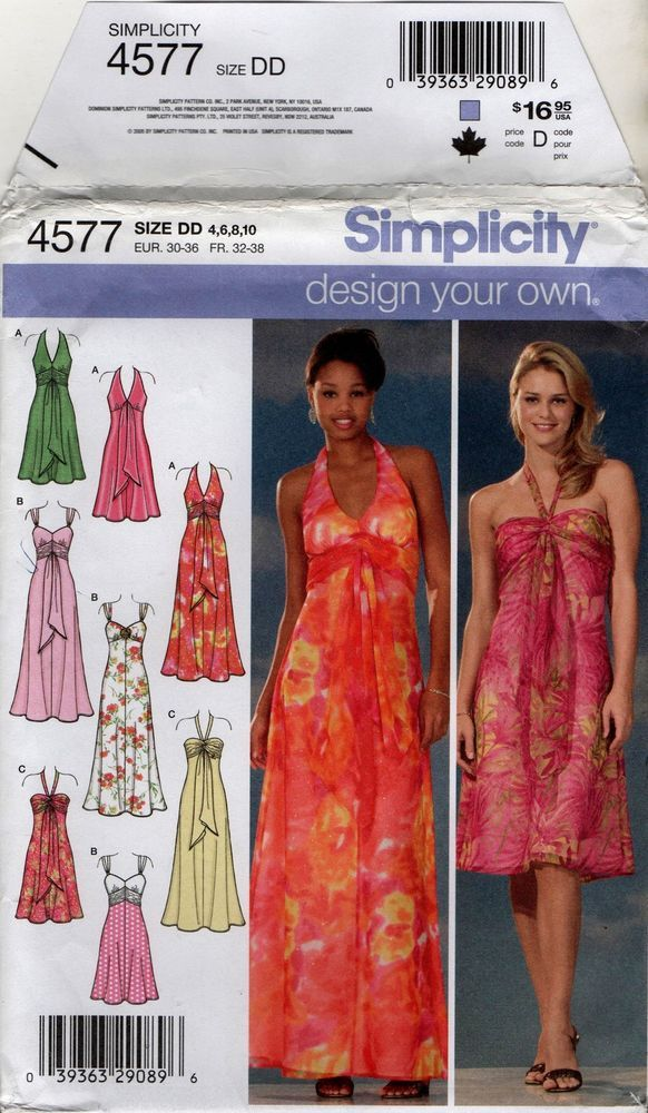 4577 Sewing Pattern Misses Halter Dress with Bodice options 4 6 8 10 ...