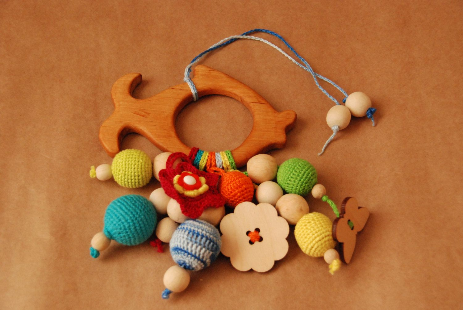 Toys car for boy  Baby gift Baby rattle Teething toy Cute wooden Fish Baby shower gift