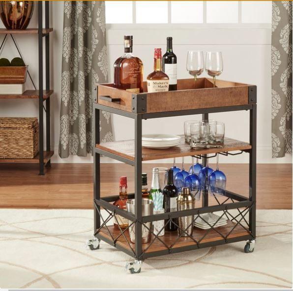 mini bar cart vintage modern wheels portable glass wood metal ...