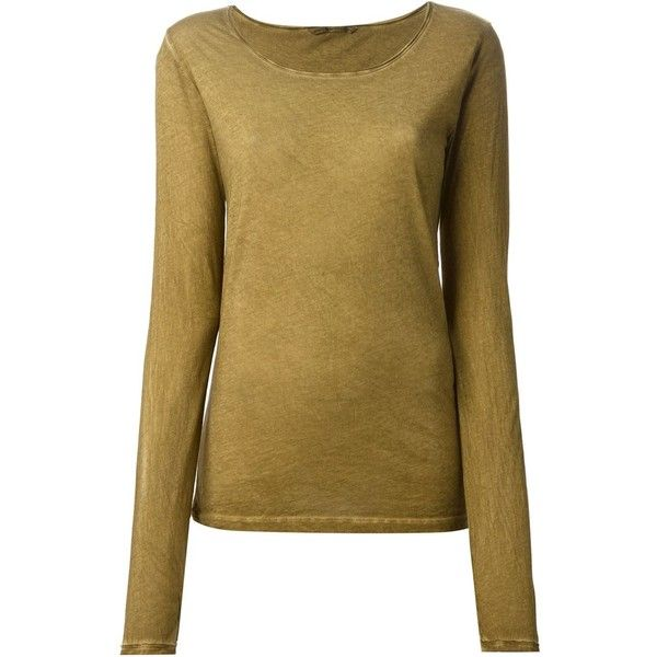 Humanoid Longsleeved T-Shirt ($70) ❤ liked on Polyvore featuring tops, t-shirts, brown, cotton tee, long sleeve cotton tees, longsleeve tee, long sleeve tee and brown t shirt
