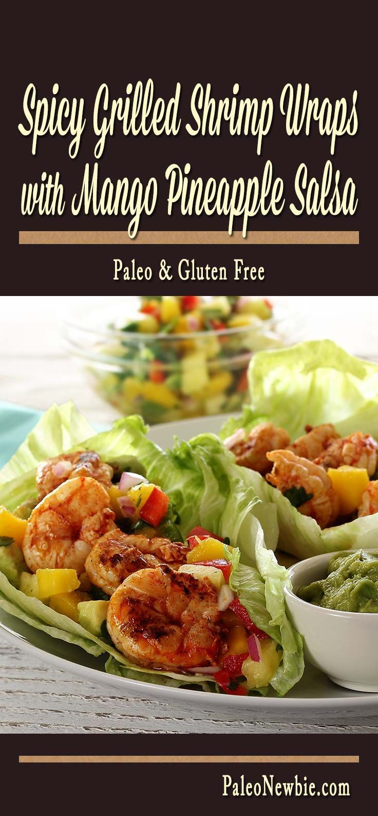 Light and delicious shrimp wraps with a little kick, topped with a refreshing salsa, and rolled up in crispy lettuce. So good!