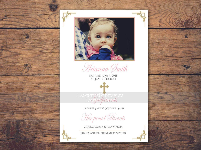 Tarjeta gracias bautizo chica invitación rosa, baptism invitation girl, invitation, cristianismo, printable by LaminitasPrintables on Etsy
