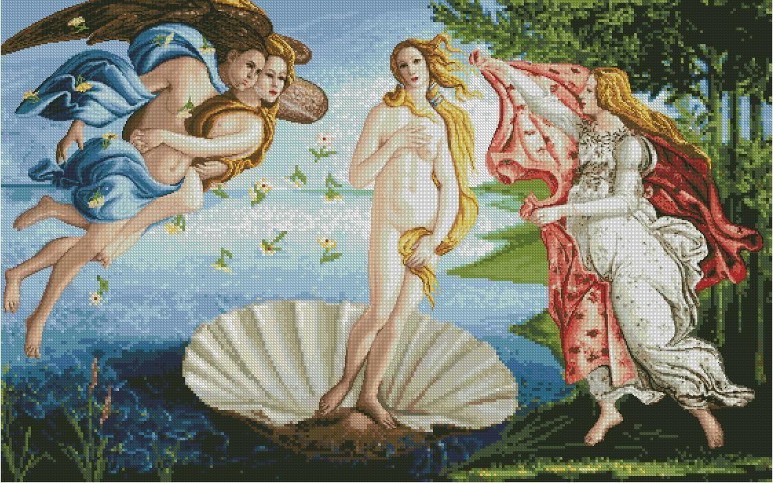 Grafico De Punto De Cruz Para Descargar En Pdf Y Bordar El Nacimiento De Venus De Botticelli Art The Birth Of Venus Artwork
