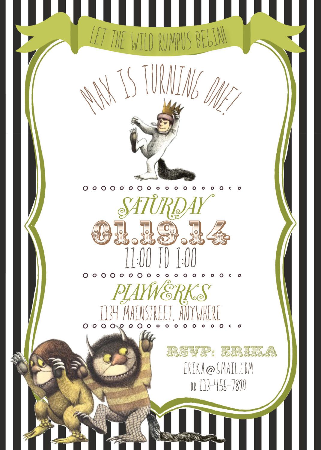 Where the Wild Things Are Invitation by RAWkonversations on Etsy https://www.etsy.com/listing/172913498/where-the-wild-things-are-invitation