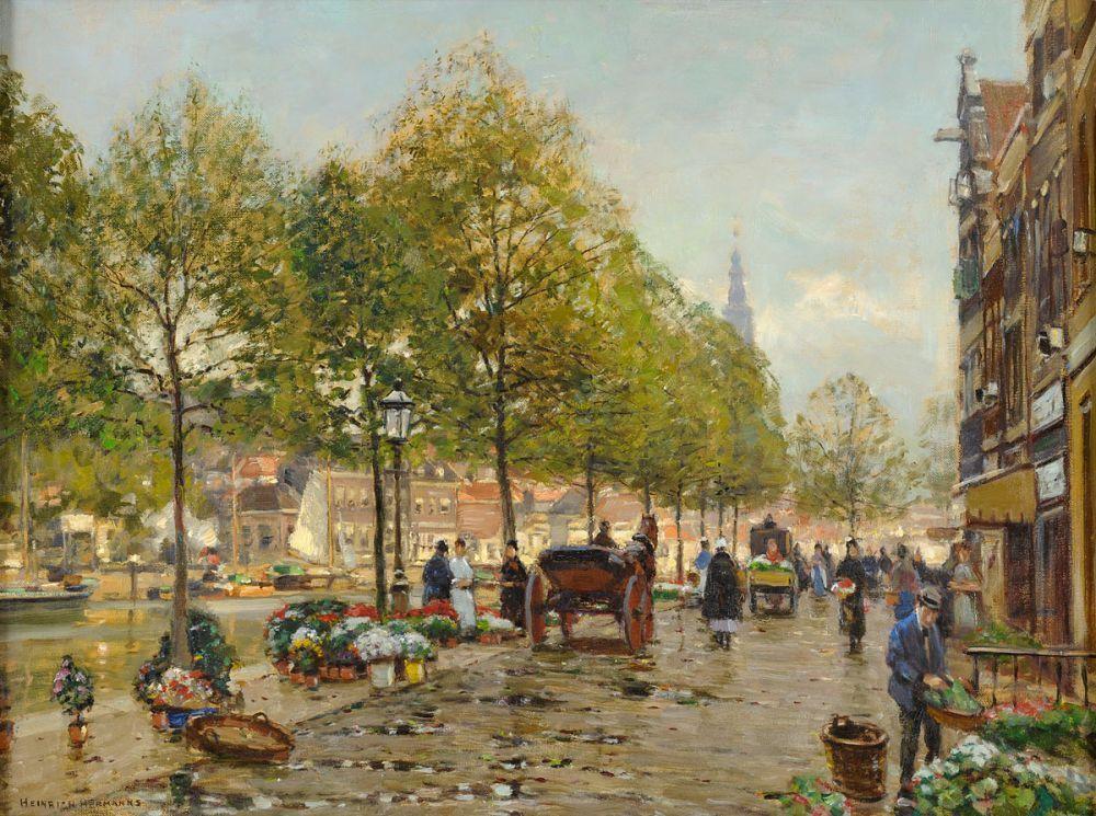 Hermanns, Heinrich 1862 Düsseldorf - 1942 Düsseldorf Blumenmarkt in Leiden. Signiert. Rückseite