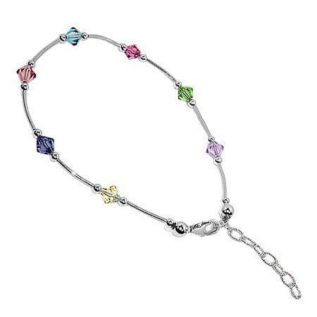 Bda004 Sterling Silver Multi Crystal Anklet 9 To 10 Inch Ankle Bracelet Made With Swarovski Elements G Crystal Anklet Swarovski Elements Jewelry Silver Anklets