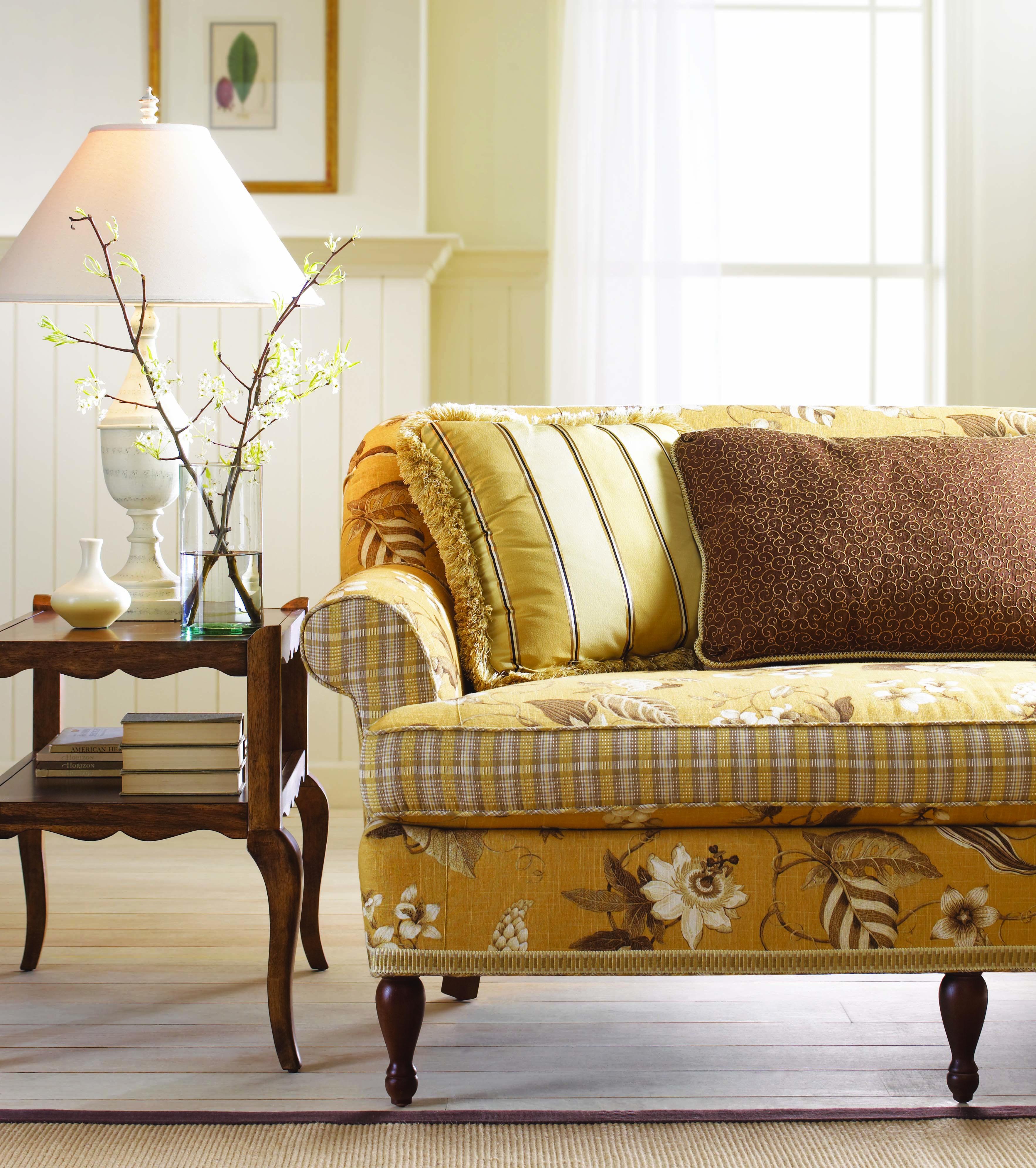 Contrast Fabrics Sofa Cottage Style Sofa Classy Furniture