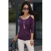 Cheap New Style O Neck Long Sleeves Cotton Blend Shirt