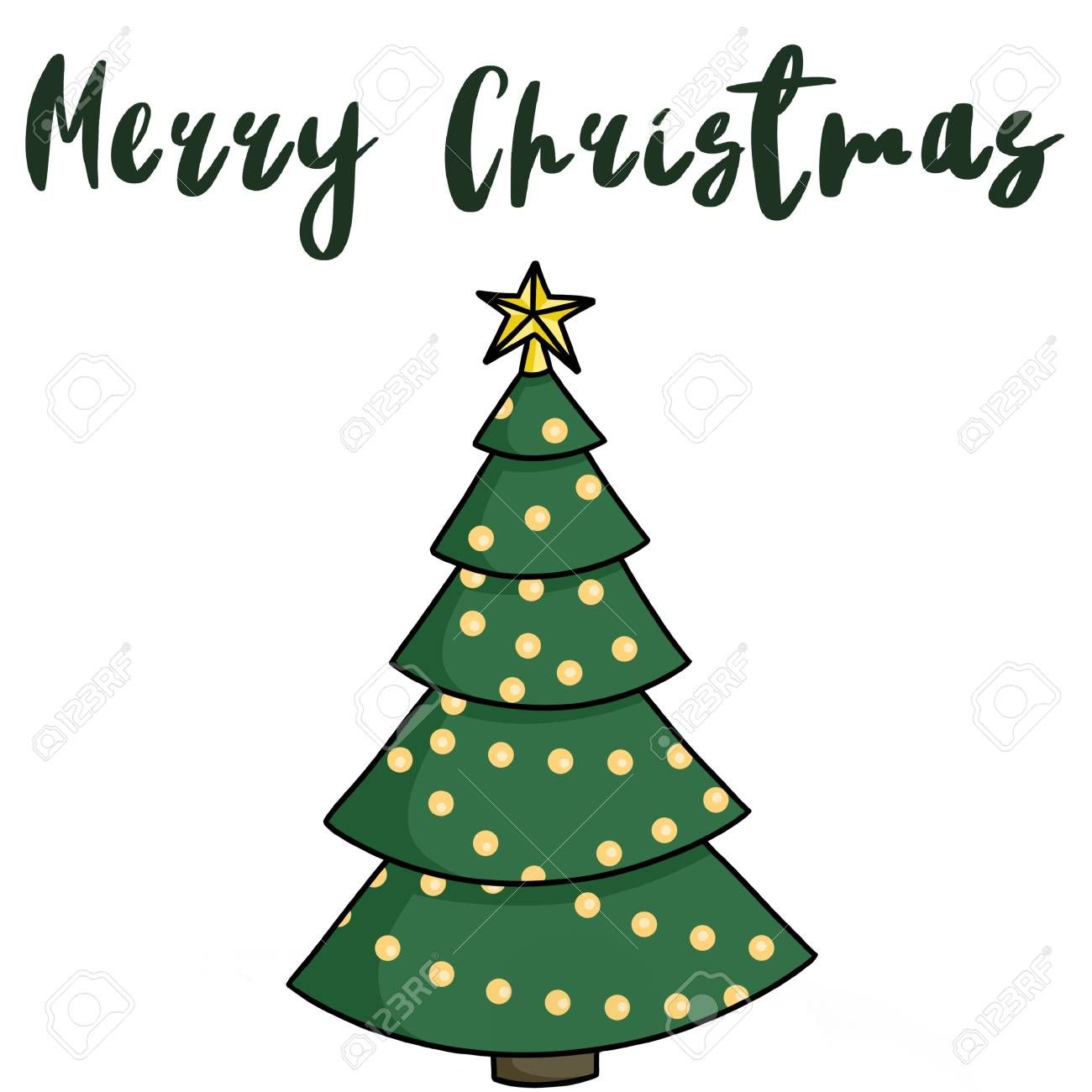 Merry Christmas Text Handwritten Sign On Christmas Tree With Gold Star And Lights Isolated On White Ha In 2020 Merry Christmas Text Cartoon Christmas Tree Christmas