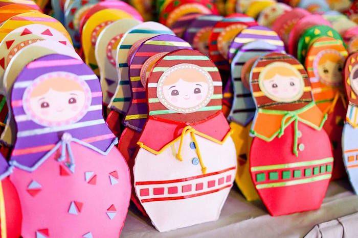 Matryoshka Doll Favor Pouches from a Matryoshka Doll Birthday