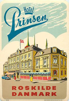 hotel prinsen roskilde denmark art deco luggage label. Black Bedroom Furniture Sets. Home Design Ideas