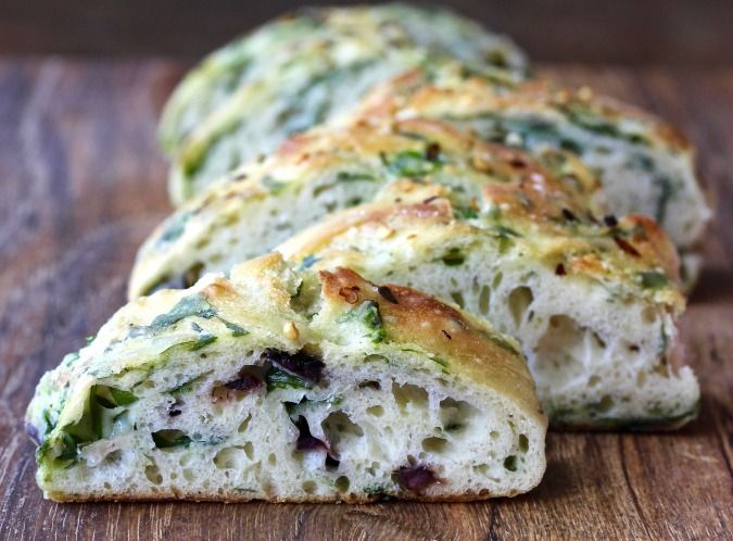 Spinach and Olive Focaccia | Spinach bread, Foccacia bread ...