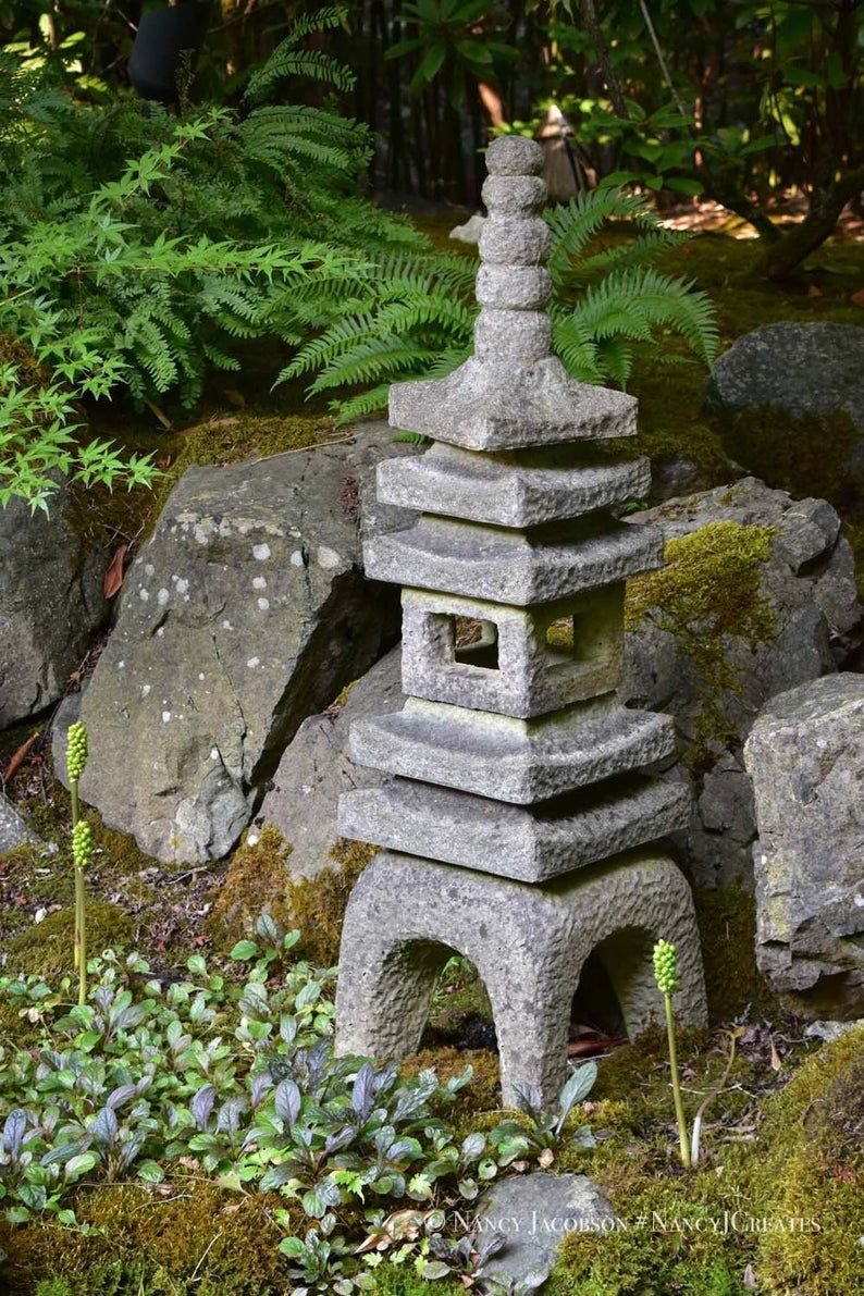 Photo of Japanese Garden Pagoda Statue Photo, Buddhist Stone Lantern Picture, Peaceful Zen Photography, Asian Art Print Green Grey Art for Relaxation