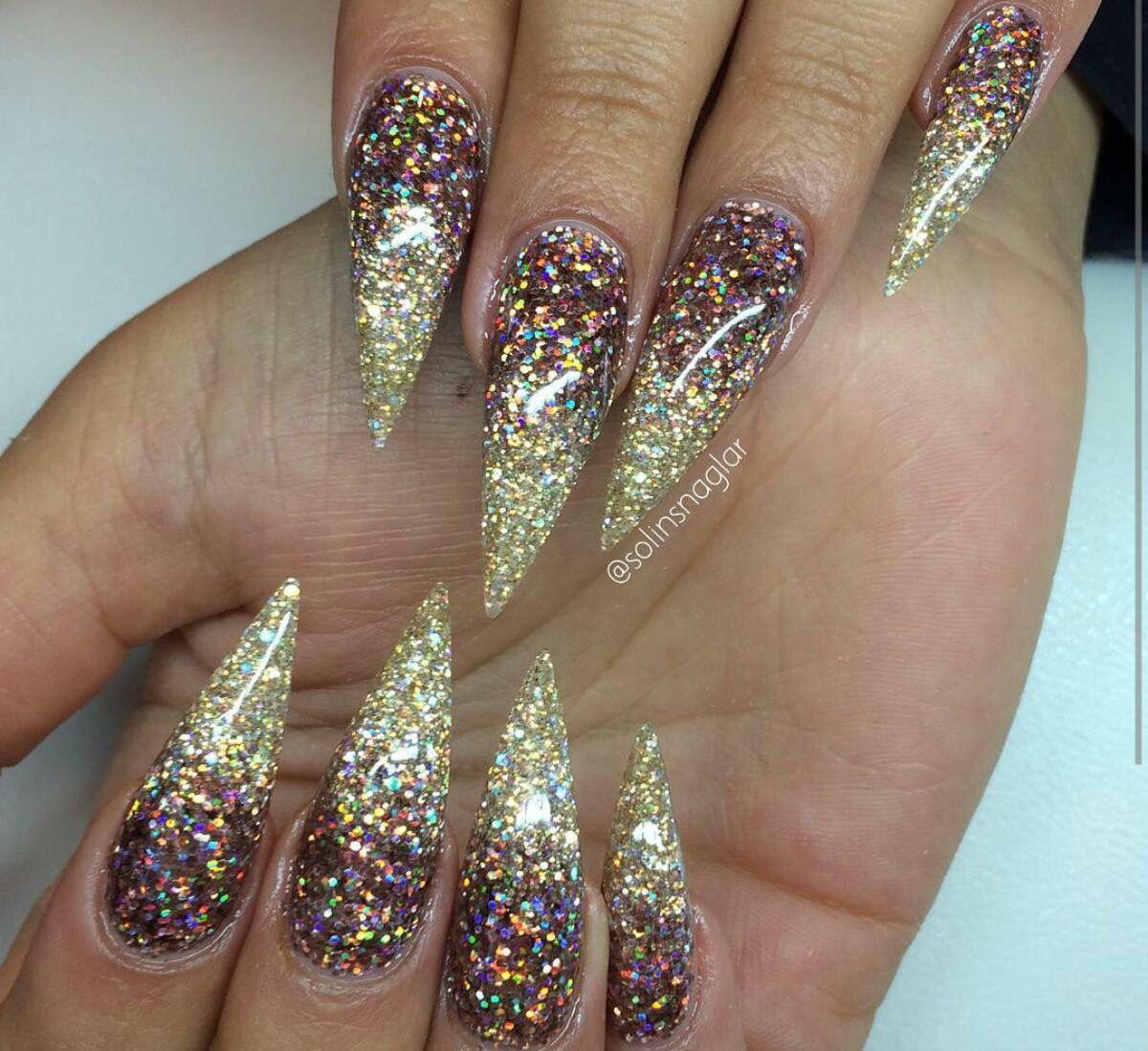 Stiletto Design Glitter Acrylic Nails Nails Pinterest Glitter