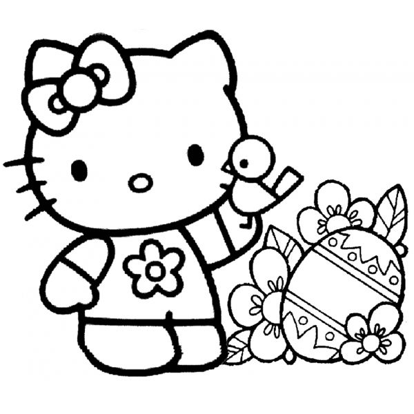 Disegno di Hello Kitty Pasqua da colorare | Rose | Pinterest