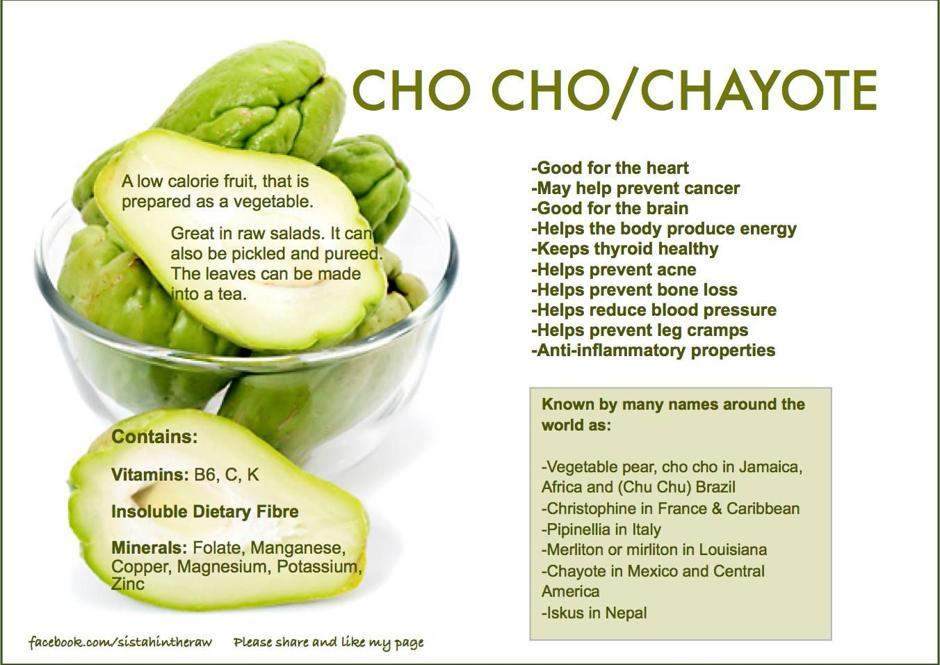 health benefits of chayote Chayote is green, pear-shaped fruit that belongs to gourd family even though chayote is a fruit, people use it as a vegetable there are so many names of this.