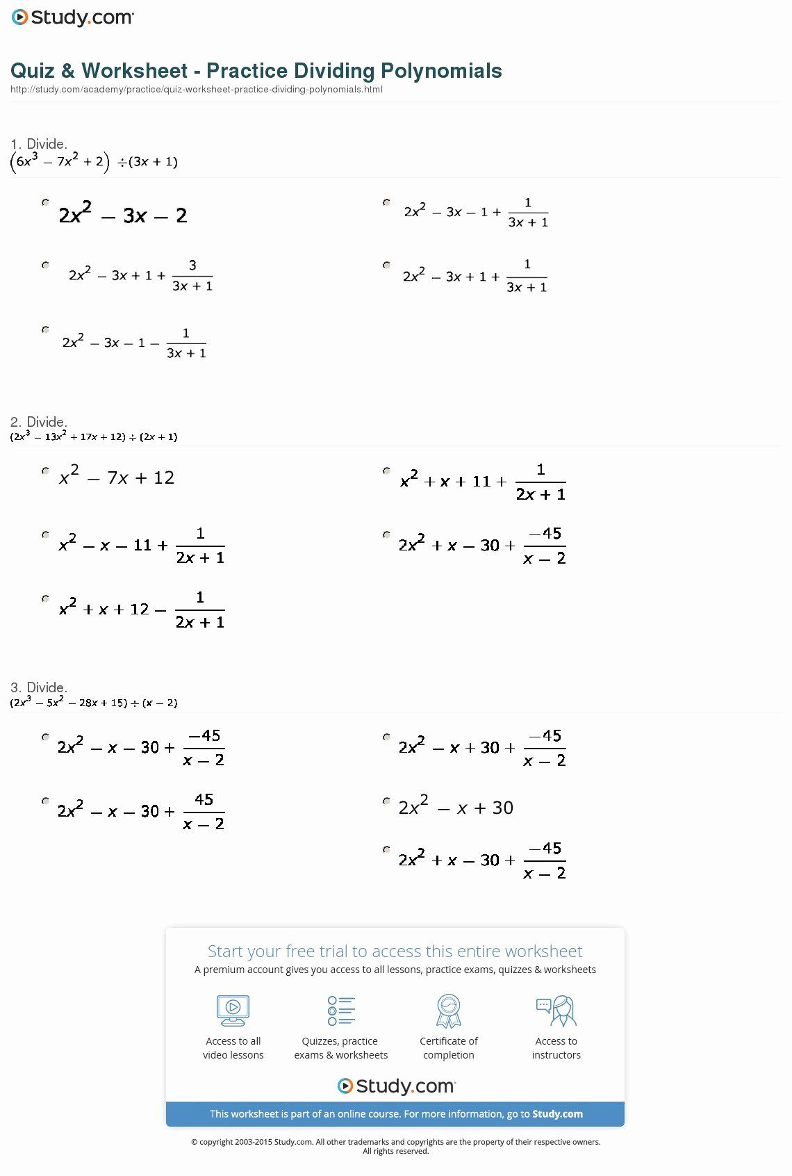 Operations With Polynomials Worksheet Unique Math