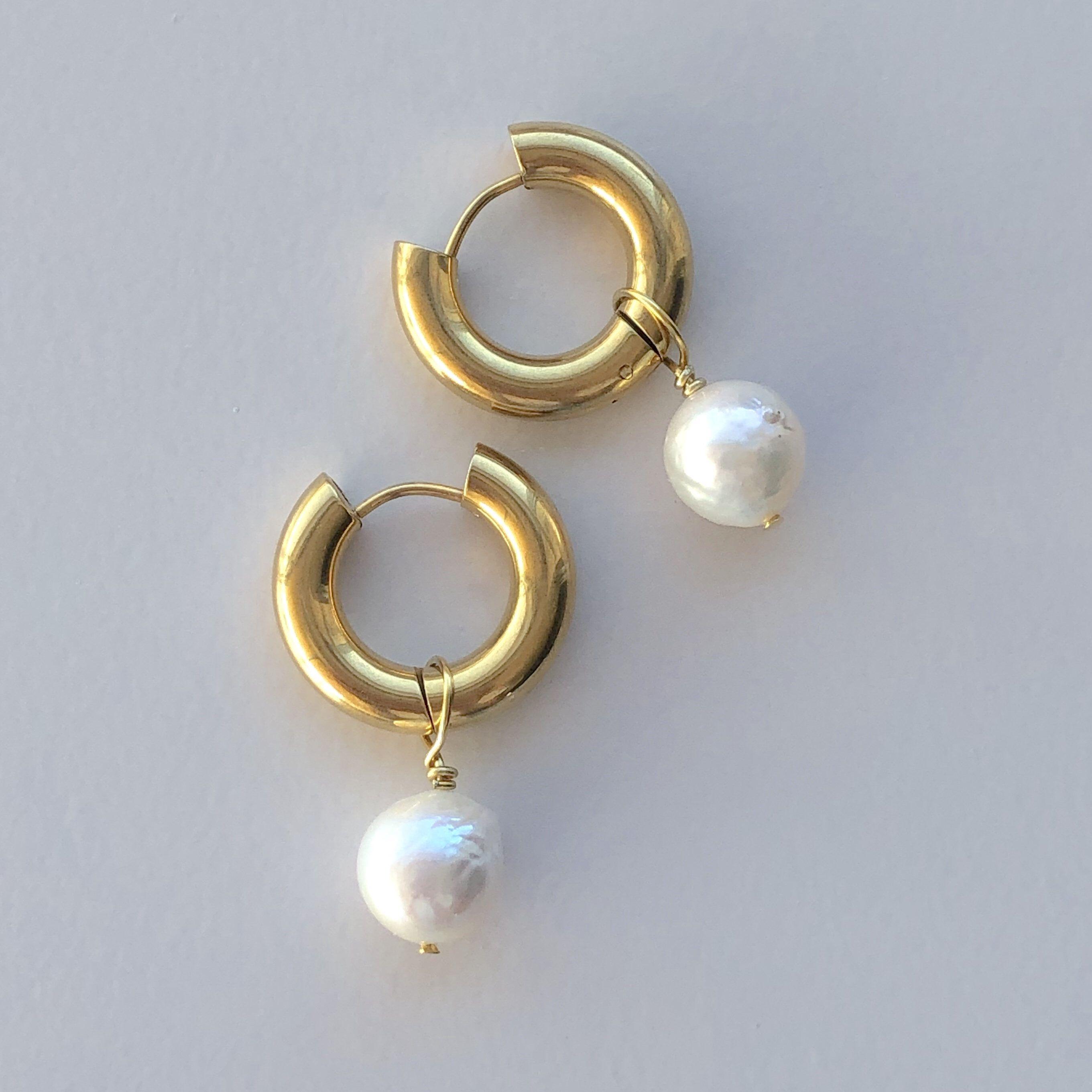 Round pearl chunky gold hoop earrings