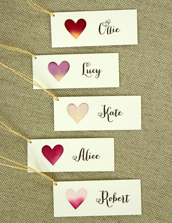 Personalised Heart Name Tags Handmade Stationery For Weddings