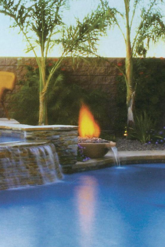 Mix water & fire to create a unique #pool look.  Outstanding!